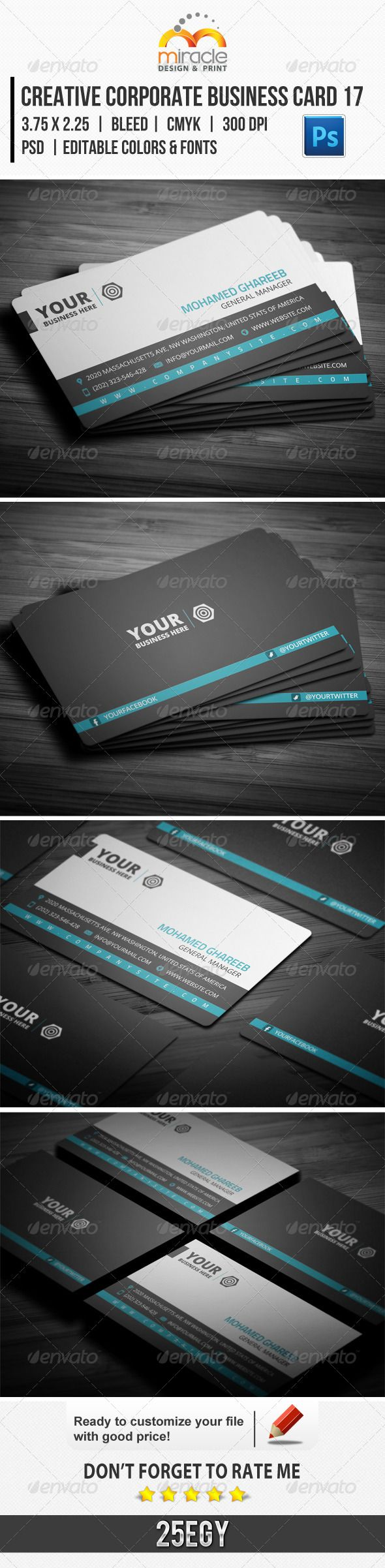 Creative Corporate Business Card 17 : ---------------------------- check out…