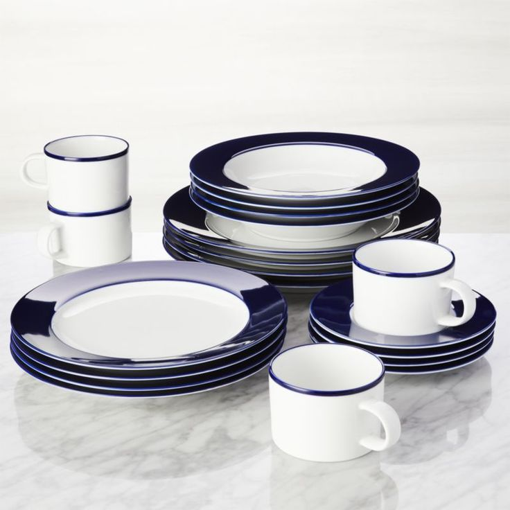 Shop Maison Cobalt Blue 20-Piece Dinnerware Set.  We've detailed our crisp white Maison dinnerware in a shade of cobalt blue that's rich, intense and gorgeous, giving this streamlined, contemporary dinnerware collection a bold yet sophisticated look.