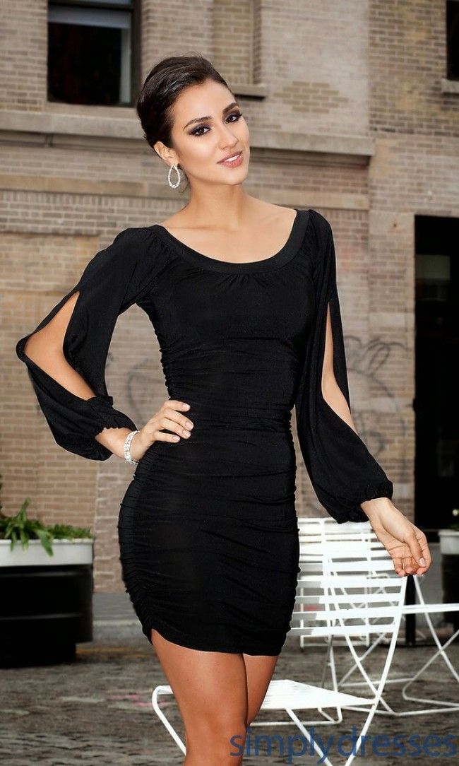 2014 classic timeless style short little black dress jersey scoop column ruched long sleeves cocktail dress mini party dresses