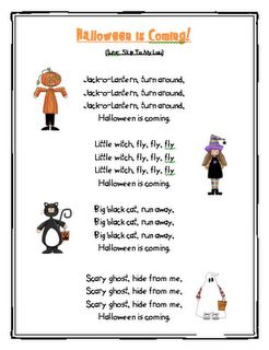 "Song, ""Halloween is Coming""- my kids have been saying this all month! They will love this song for circle time next week!!!"