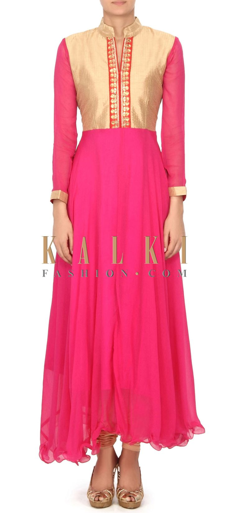 Buy this Pink chiffon dress with embellished placket only on Kalki