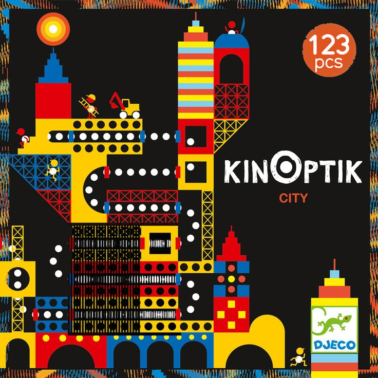KinOptik+City+-+By+Djeco+-+Build+your+own+cities+and+animate+the+building+sites+and+connecting+pipes+using+the+special+plastic+sheet+to+bring+them+alive.+Bumper+pack+for+children+aged+6+-+10+years. By+using+the+123+different+magnetic+pieces+there+are+endless+combinations+to+create!