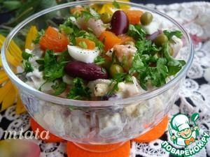 Салат с солёной сельдью и фасолью
