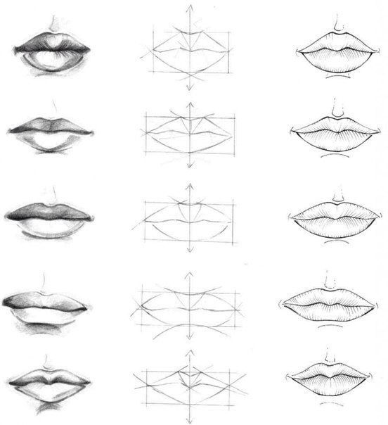 how to draw lips with pencil step by step