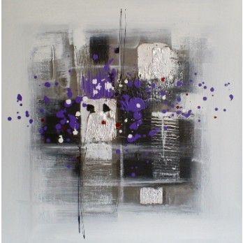 schilderij modern paars grijs zwart 60x60