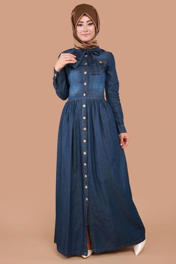 Önden Düğmeli Büzgülü Kot Elbise Koyu Kot Ürün kodu: MSW9159 --> 84.90 TL