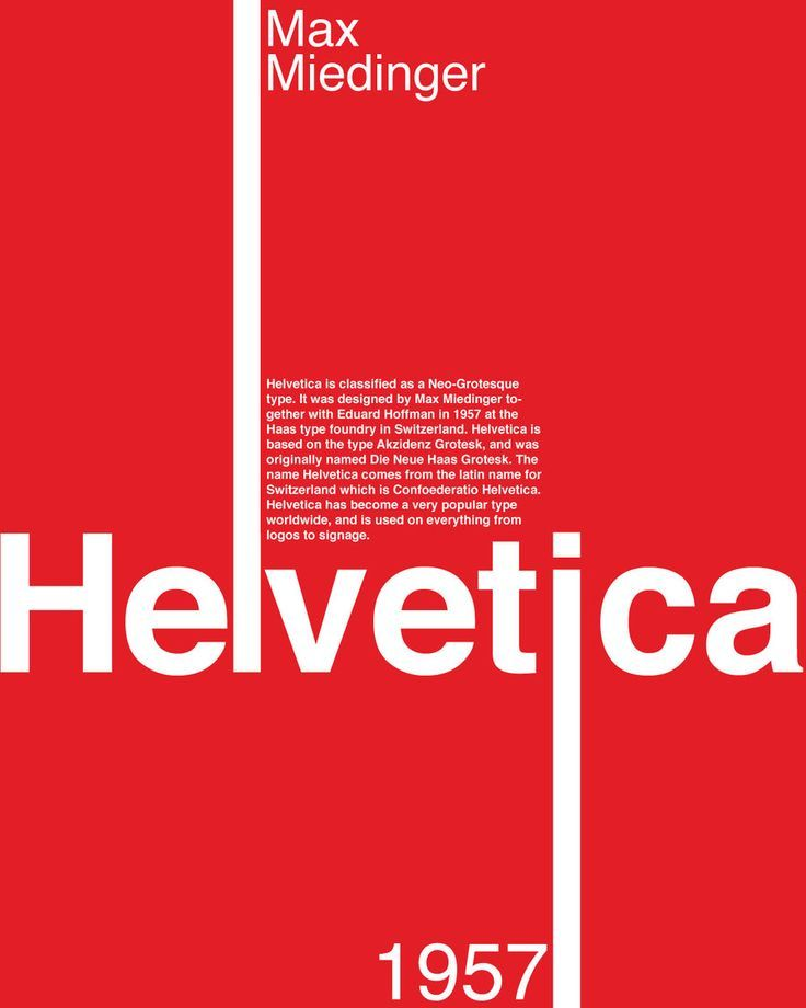 "Max Miedinger - Typographie ""Helvetica"" (1957) - Suisse."