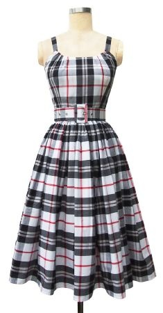 1950s style Annette Dress - Black/red plaid