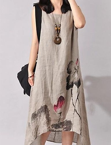 39941fc25b0e  9.99 - Women s Going out Beach Holiday Chinoiserie Loose Asymmetrical Dress  Print Round Neck Sleeveless Cotton Linen Spring Summer 5714626 2018.