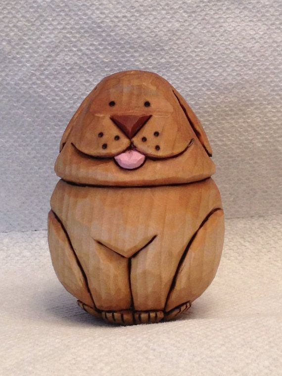 Hand carved little puppy goose egg handmade wood carving