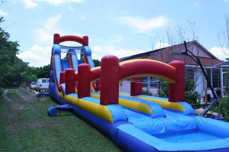 2 Lane Slide And Sllip And Slide With Pool 4th Of July Ideas Pinterest Church Houses With