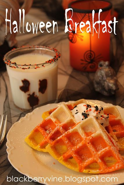 Ghost Milk and Candy Corn Waffles will satisfy the hungry of any goblin that shows up at your door this Halloween! Find out how to make this terrifying breakfast here.