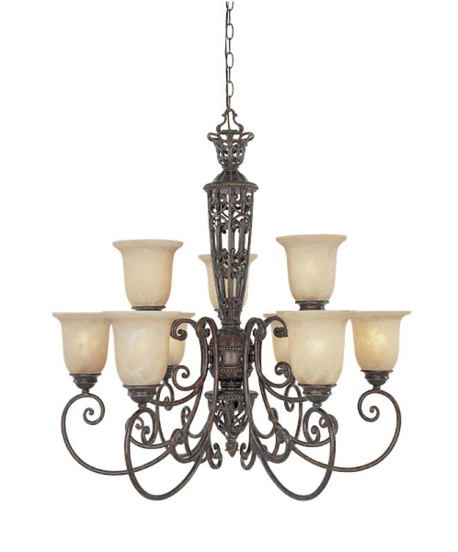 Designers Fountain 97589 Nine Light Up Lighting Two Tier Chandelier from the Amh Burnt Umber Indoor Lighting Chandeliers