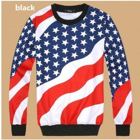 3D American flag sweatshirt for teens long sleeve pullover