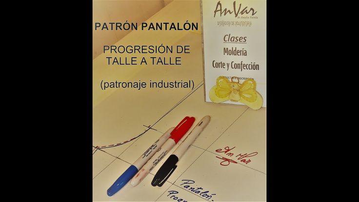 PROGRESIÓN DE 1 TALLE - Patrón de pantalón