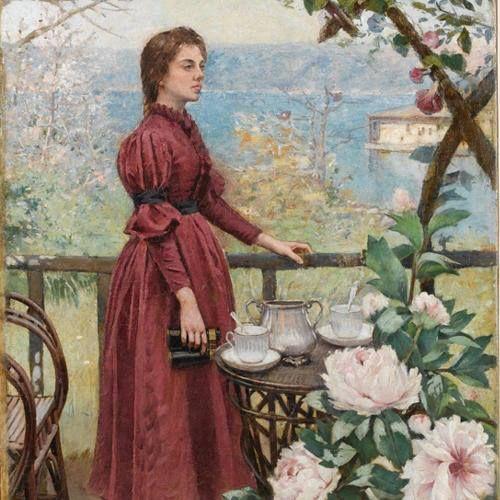Halil Paşa | Şakayıklar ve Kadın 1898 Tuval üzerine yağlıboya 119,5 x 72,5 cm