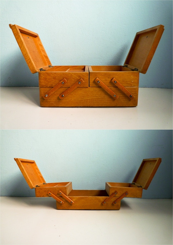 I have a larger one ... would it be this old? Vintage Sewing Storage Box Drawer Wooden 60s