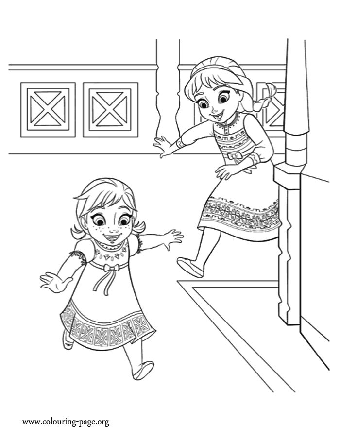 The Sisters Anna And Elsa Love To Play Together How About Print Color This Amazing Disney Frozen Movie Coloring Sheet