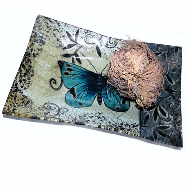 Blue Butterfly Schale mit Jericho Rose - Rose von Jericho - Cleopatra's Duft-Oase