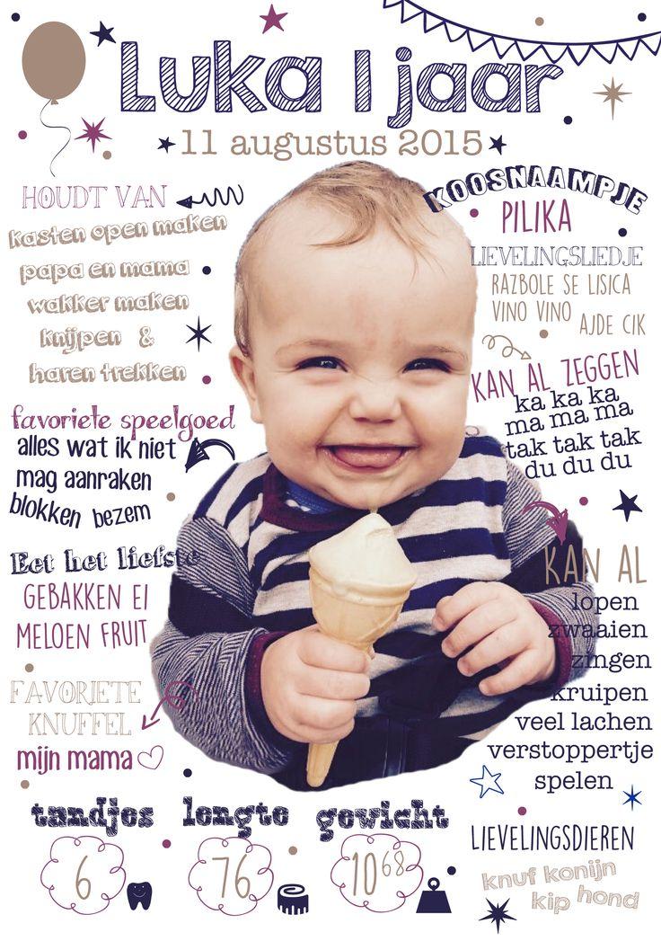 25 beste idee n over 1e verjaardag uitnodigingen op pinterest - Origineel foto kind ...