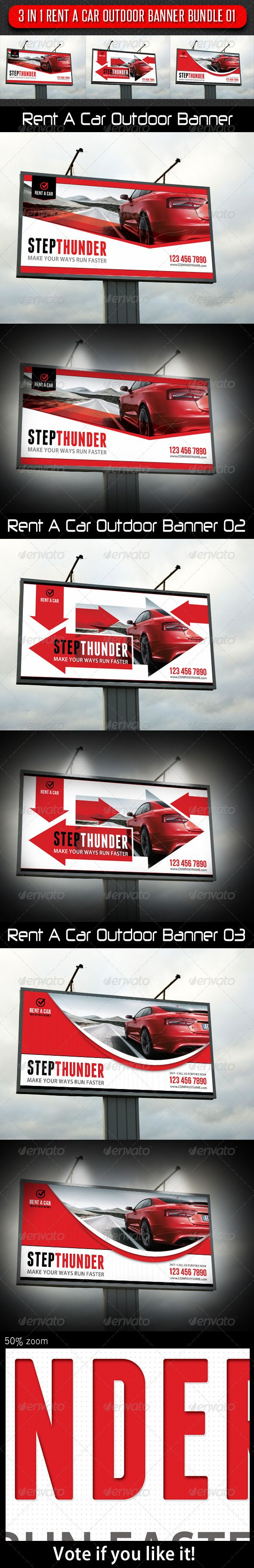 3 in 1 Rent A Car Outdoor Banner Bundle 01 — Photoshop PSD #elegant #ads • A...