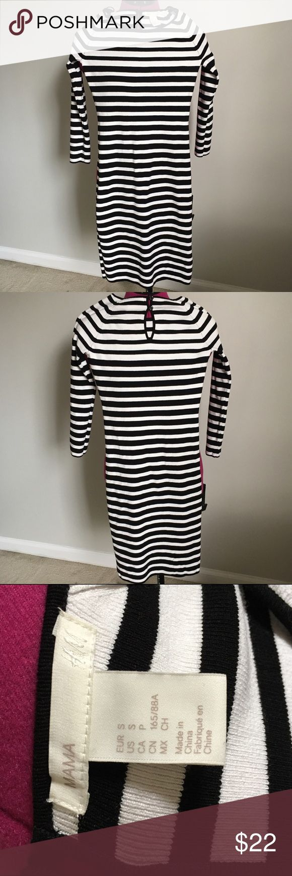 H&M Maternity Dress - S H&M Mama line. Black & white striped, form fitting with stretch from tiny ribbing. 3/4 sleeves. Size S. Can be dressed up or down. Can possibly be worn after pregnancy as well. Worn once. In like new condition. H&M Dresses
