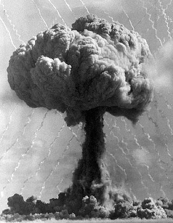An atom bomb blast at Maralinga, Australia, in the 1950s; Maralinga was used by the British Government as a nuclear weapons testing site between 1953 and 1963 Are those Feynman's squiggles???