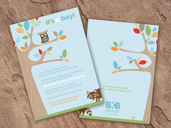 20 5x7 treetop friends forest owl themed baby shower by BKBdesign, $55.00