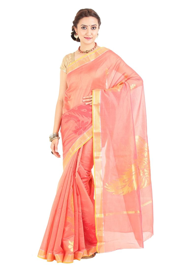 Flame Orange Pure Cotton Silk Shari Artistically Carved with Peacock Designed Pallu