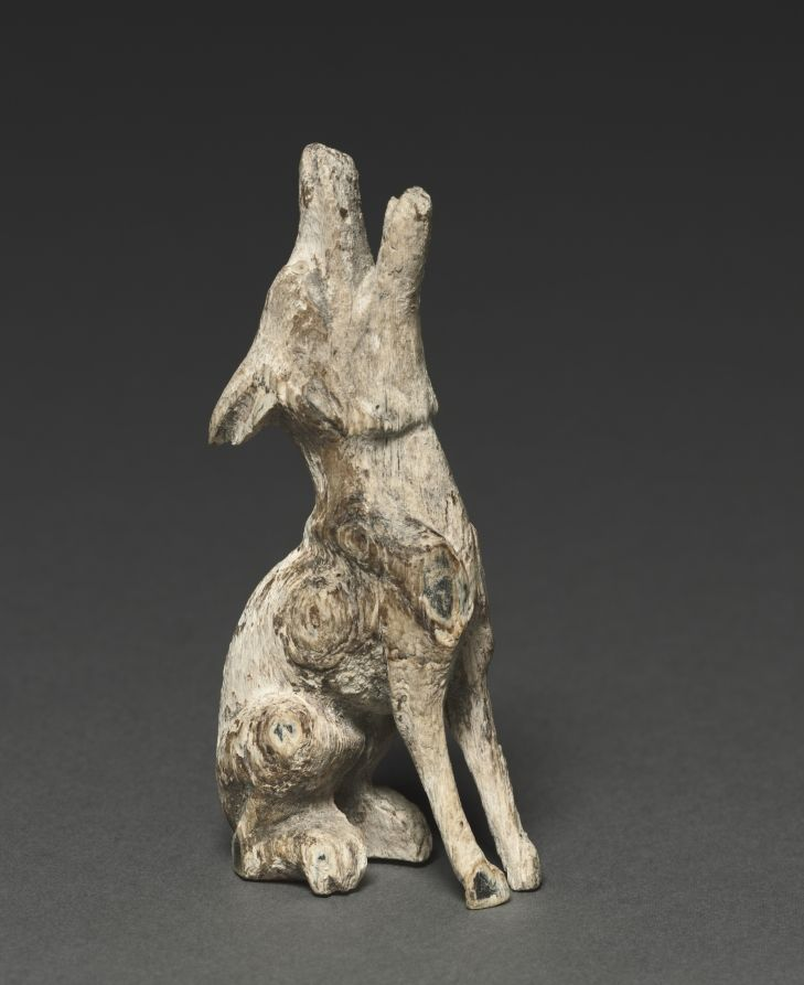 Howling Wolf, c. 500-200 BC Southern Siberia, 5th-3rd Century BC wood with shell inlays, Overall: 11.10 x 3.30 x 5.90 cm (4 5/16 x 1 1/4 x 2 5/16 inches). John L. Severance Fund 1986.26 Cleveland Museum of Art.
