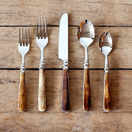 The wooden handles on the spoons lend great character to an otherwise consistently overdressed dining tool, I dig it