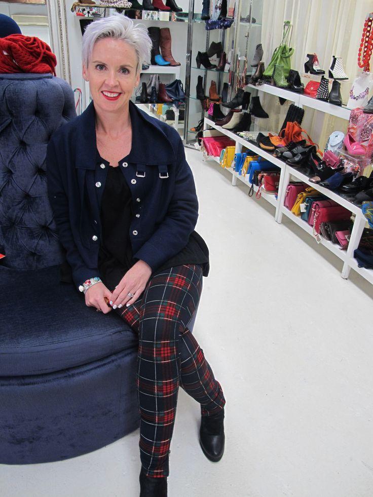 Boots: Northern Star by Minx.  Tartan leggings by ICE in Australia. Jacket by Helen Ryan. Black top from Superminx