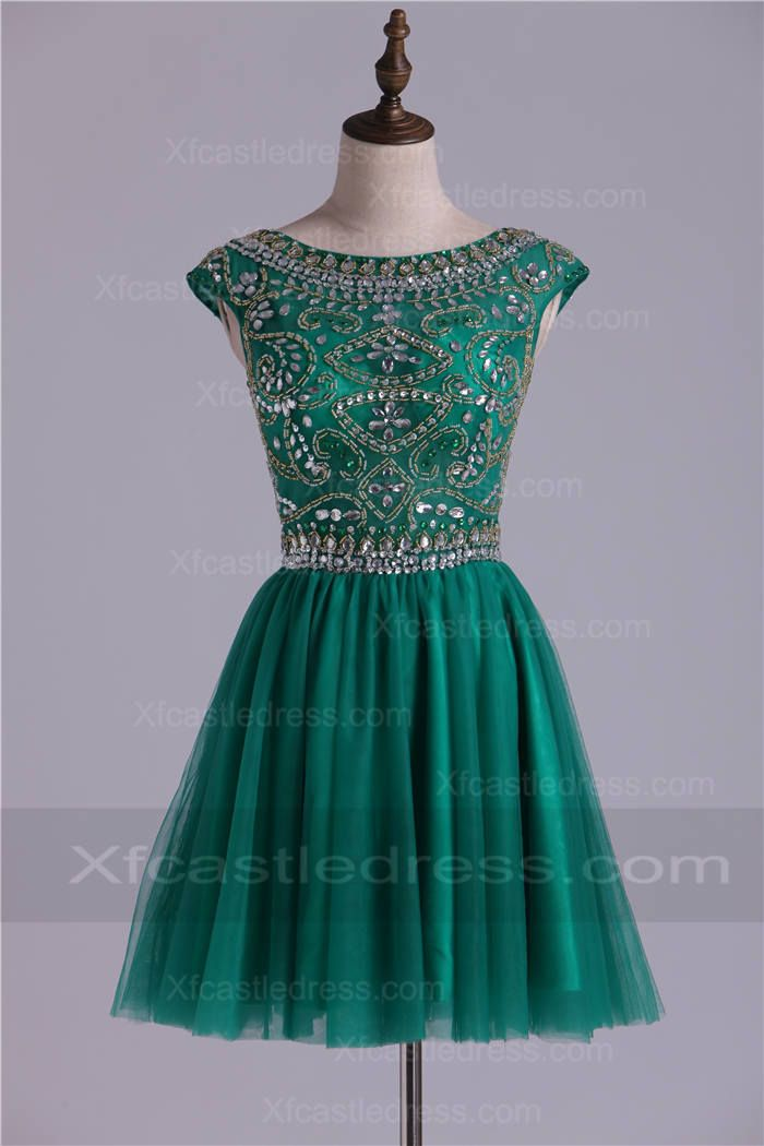 Bead Boat Neck A Line Short Hunter Green Homecoming Dresses SHXF257