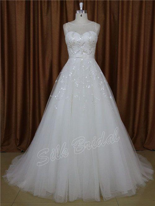 New Wedding Dresses Scoop Crystal Wedding Gown by SilkBridal, $314.00