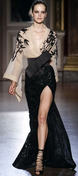 Can make this runway look everyday appropriate by pairing with really short shorts or with wide leg/palazzo pants. Can keep the belt as is, or another obi belt that makes less of a statement.