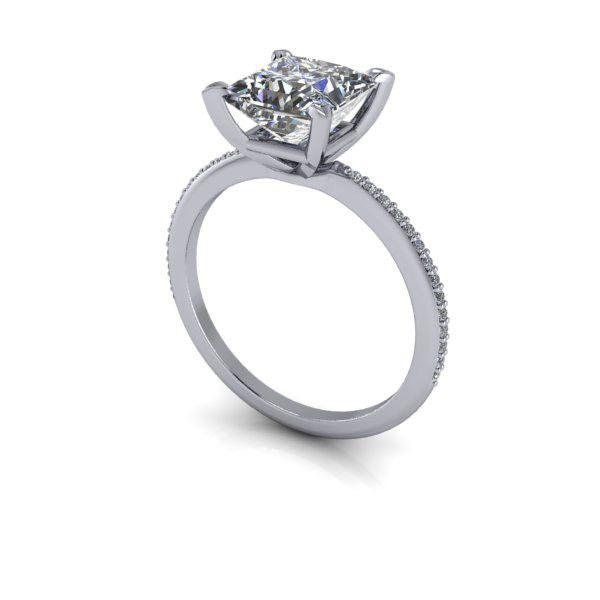 Charles & Colvard Forever Brilliant Moissanite Square Brilliant and Diamond Engagement Ring 2.20 CTW