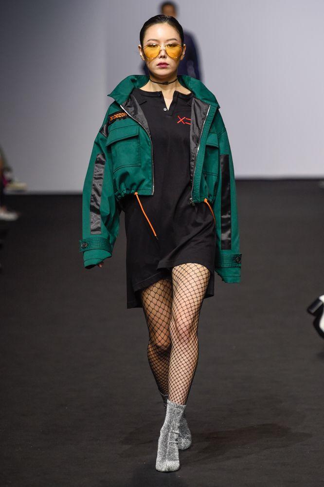 FOR ART'S SAKE DARK EYES AMBER at Seoul Fashion Week DOZOH SS18. Seen in Vogue Online.