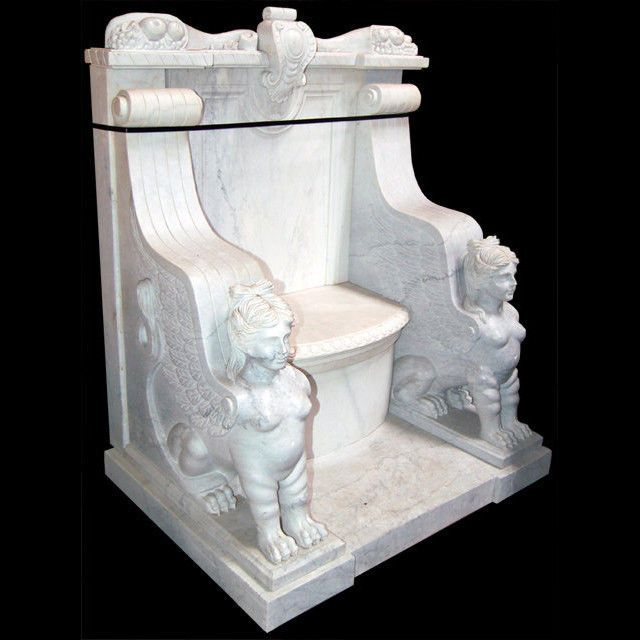 Egyptian Revival Classic White Marble Throne Chair With Fruit And Foliate Details At Crest Carved Scrolli Throne Chair Antique Bedroom Furniture White Marble