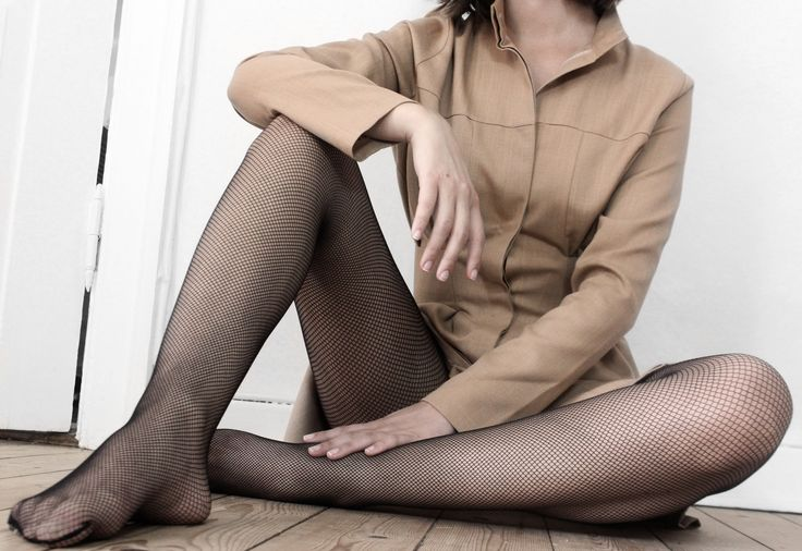 Cafe Latte Shirt Dress. Styled with fishnet stockings