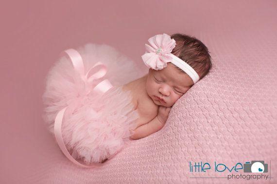 PINK TUTU Set Light Pink Tutu and Headband Newborn by LilPinkGoose