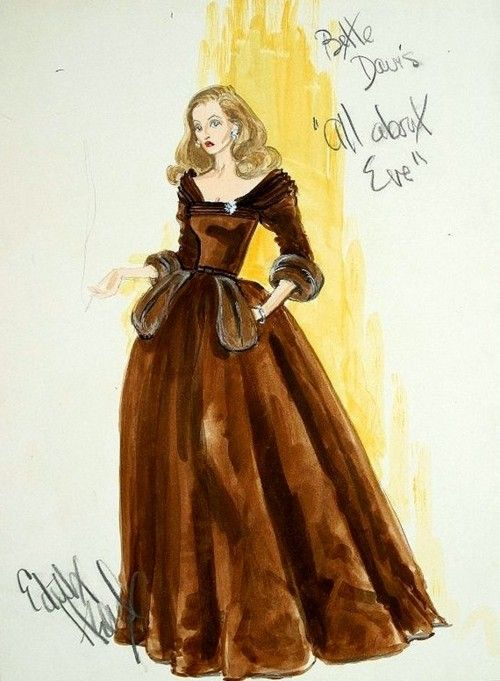 Love Edith Head designs. Costume sketch by Edith Head for Bette Davis in 'All About Eve', 1950.