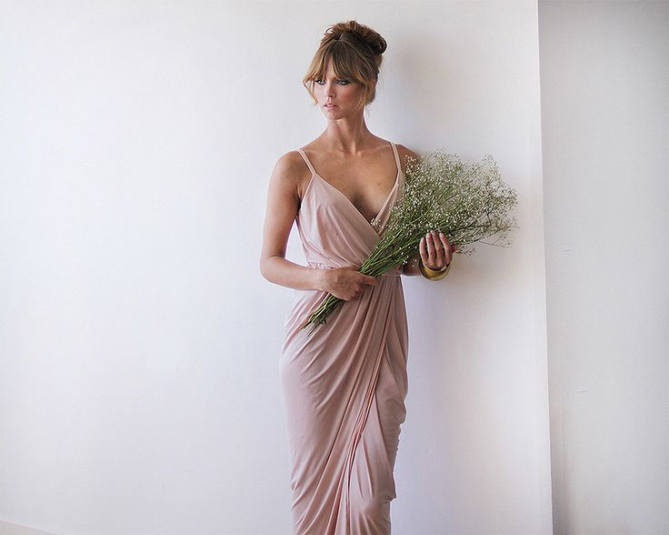 Wrap maxi pink bridesmaids gown, Pink blush maxi gown by BLUSHFASHION on Etsy https://www.etsy.com/au/listing/197508259/wrap-maxi-pink-bridesmaids-gown-pink