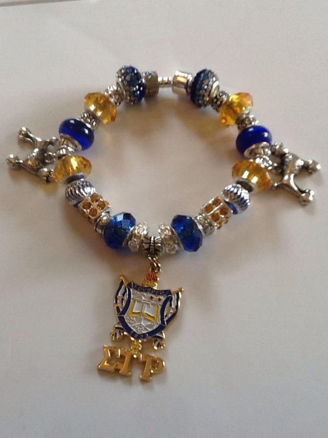 Blue  Gold Rhinestone Sigma Gamma Rho Sorority Charm Beaded Bracelet.