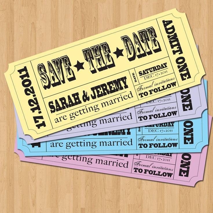 Save the Date Invitation - Vintage Ticket Style DIY Set (printable). $12.50, via Etsy.