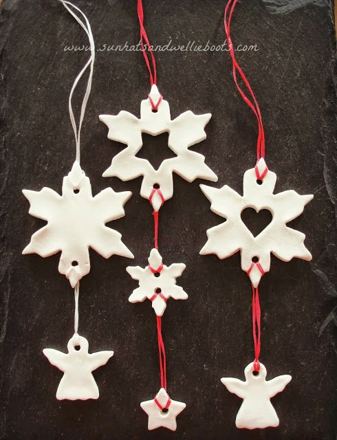 Christmas Mobiles made with White Clay Dough