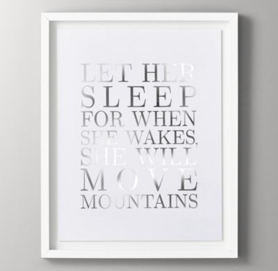 RH Baby & Child's Quotes Silver Metallic Foil Art - Let Her Sleep:Printed with metallic foil lettering, our well-spoken wall art inspires little ones to shine bright.