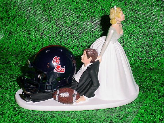 Mississippi Ole Miss football Groom Cake Fun but Cute Wedding Topper- College Sports University  Fans-1