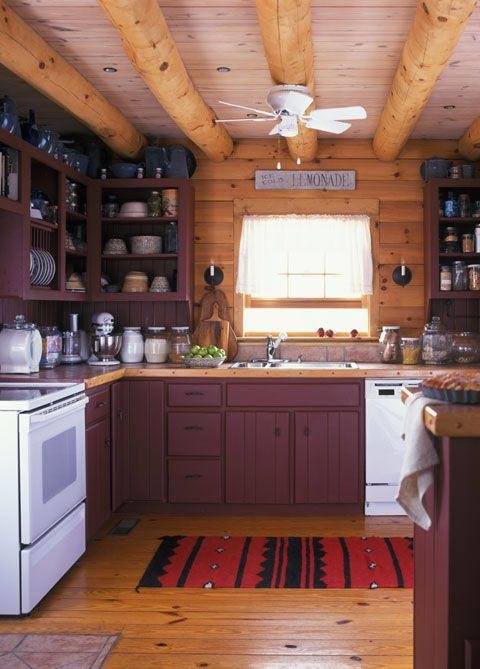 Log cabin kitchens with islands country speaks softly in for Log home kitchens gallery