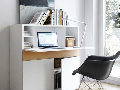 Bureau secrétaire en bois placage chêne et blanc mat l cm focus