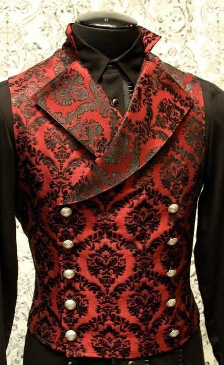 SHRINE GOTHIC VAMPIRE CAVALIER RED VEST JACKET VICTORIAN TAPESTRY STEAMPUNK #ShrineClothing